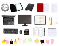 Big collection of business and office supplies. Royalty Free Stock Photo