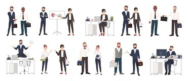 Big collection of business people or office workers dressed in smart clothing in different situations - making deal. Conducting negotiation, working. Colorful royalty free illustration