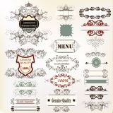 Big collection of calligraphic elements for design stock illustration