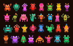 Big collection of cartoon funny monsters. Vector illustration Stock Image