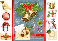 Big collection of Christmas objects Stock Image