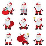 Big collection christmas santa claus poses. This is a big vector collection of nine Santa Claus posing. They can be used together, or separately for your royalty free illustration