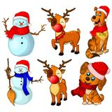 Big collection Christmas snowmans, deers and dogs poses. royalty free illustration