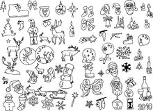 Big collection of christmas vector silhouettes Stock Photos