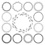 Big collection of circle cute hand drawn floral Stock Image