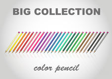 Big collection color pencil. With eraser Stock Image
