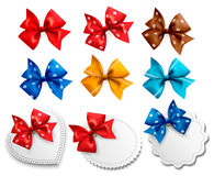 Big collection of colorful gift bows and labels Stock Image