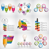Big collection of colorful infographics. Design elements. Infographics for business presentations or information banner. Stock Photos