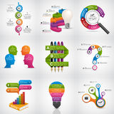 Big collection of colorful infographics. Design elements. Infographics for business presentations or information banner. Royalty Free Stock Image