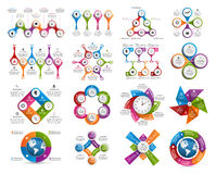 Big collection of colorful infographics. Design elements. Vector illustration Royalty Free Stock Images
