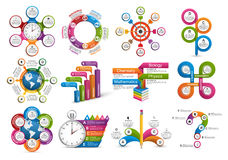 Big collection of colorful infographics. Design elements. Stock Photos