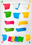 Big collection of colorful origami paper banners. Stock Image