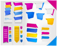 Big collection of colorful origami paper banners Stock Photography
