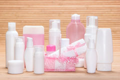 Big collection of cosmetic products for skincare Stock Image