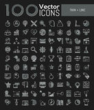 Big collection of 100 creative pictograms in thin line style. Marketing, project management, money, sports competitions, e-learning, e-commerce, global vector illustration