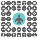 Big collection of different airplane icons set. Royalty Free Stock Image