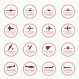 Big collection of different airplane icons. Royalty Free Stock Photos