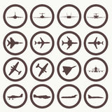 Big collection of different airplane icons. Stock Photography