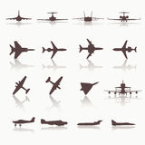 Big collection of different airplane icons. Vector. Illustration Stock Photography