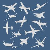 Big collection of different airplane silhouettes. Royalty Free Stock Photos