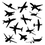 Big collection of different airplane silhouettes. Royalty Free Stock Image
