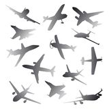 Big collection of different airplane silhouettes. Royalty Free Stock Photography