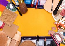 Big collection of different makeup cosmetics Royalty Free Stock Photo