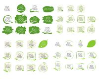 Big collection Eco food labels and high quality product badges. Bio healthy organic, 100 bio and natural product icon. Emblems for cafe, packaging . Vector vector illustration