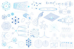 Big collection of elements, symbols and schemes of physics Stock Photos