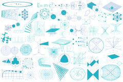 Big collection of elements, symbols and schemes of physics Royalty Free Stock Photography