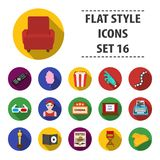 Big collection of films and cinema vector symbol stock illustration. Films and cinema set icons in flat style. Big collection of films and cinema vector symbol Royalty Free Stock Photography
