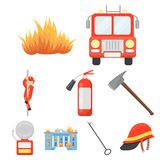 Big collection of fire department vector symbol stock illustration. Fire department set icons in cartoon style. Big collection of fire department vector symbol Royalty Free Stock Images