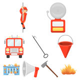 Big collection of fire department vector symbol stock illustration. Fire department set icons in cartoon style. Big collection of fire department vector symbol Stock Images