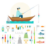 Big collection of fishing Royalty Free Stock Image