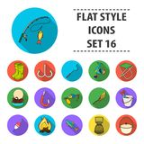 Big collection of fishing vector symbol stock illustration. Fishing set icons in flat design. Big collection of fishing vector symbol stock illustration Stock Photography