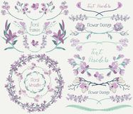 Big Collection of Floral Design Elements, Dividers, Frames. Collection of Floral Design Elements. Hand Drawn Dividers, Text Frames, Wreaths with Branches and Royalty Free Stock Images