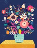 Big collection with floral elements and cute fox stock illustration
