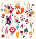 Big collection with floral elements and cute fox vector illustration