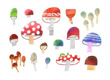 Big collection of forest mushrooms watercolor illustration with clipping mask stock illustration