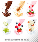 Big collection of fruit and berries in a milk splash royalty free illustration