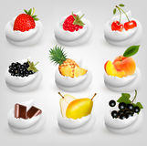 Big collection of fruit in cream. Royalty Free Stock Image