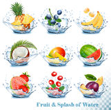 Big collection of fruit in a water splash. Pineapple, mango, banana, pear vector illustration