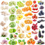 Big collection of fruits and vegetables. On white background Royalty Free Stock Images