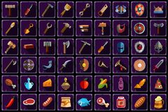 Big flat vector set of items for online mobile game. Tools, equipment, weapon and food with long shadows isolated on. Big collection of gaming items. Various vector illustration