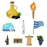 Big collection of Greece vector symbol stock illustration. Greece set icons in cartoon design. Big collection of Greece vector symbol stock illustration Royalty Free Stock Image