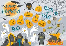 Big collection of Halloween elements vector illustration