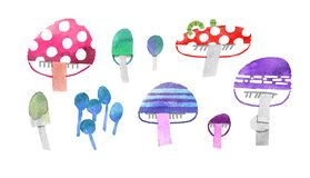 Big collection of hallucinogenic mushrooms watercolor illustration with clipping mask royalty free illustration
