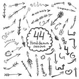 Big collection of hand drawn arrows and symbols. Set of vector illustration. illustration of highlighter elements Royalty Free Stock Photos