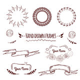 Big collection of hand drawn badges, borders, frames and labels Royalty Free Stock Photography