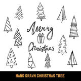 Big collection of hand drawn christmas tree and quote Merry Christmas for greeting card, banners, flyers, etc. Doodle  holiday design elements. Vector Stock Photos